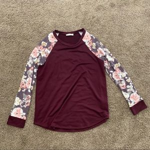 Burgundy and Floral Long Sleeve Tee